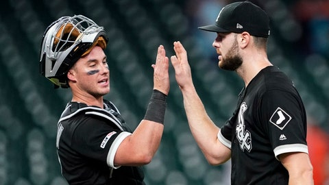 <p>               Chicago White Sox catcher James McCann, left, celebrates with starting pitcher Lucas Giolito after the team's baseball game against the Houston Astros Thursday, May 23, 2019, in Houston. Giolito threw a four-hitter as the White Sox won 4-0. (AP Photo/David J. Phillip)             </p>