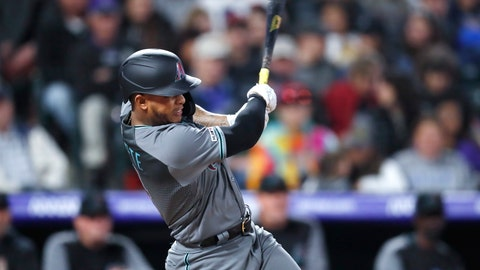 <p>               Arizona Diamondbacks' Ketel Marte follows the flight of his single off Colorado Rockies starting pitcher Tyler Anderson in the fifth inning of a baseball game Friday, May 3, 2019, in Denver. (AP Photo/David Zalubowski)             </p>