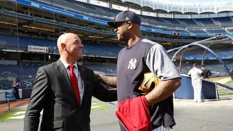 <p>               In this Wednesday, May 8, 2019 photo, former Liverpool goalkeeper Bruce Grobbelaar, left, speaks to New York Yankees pitcher CC Sabathia as the pair met on the field at Yankee Stadium in New York. When Grobbelaar celebrated at Anfield on April 28, 1990, he never thought it would be Liverpool's last league title in three decades. (AP Photo/Kathy Willens)             </p>