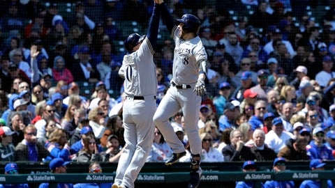 <p>               Milwaukee Brewers' Ryan Braun, right, celebrates with third base coach Ed Sedar after hitting a solo home run against the Chicago Cubs during the fourth inning of a baseball game Friday, May 10, 2019, in Chicago. (AP Photo/Nam Y. Huh)             </p>