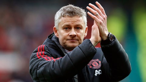 <p>               Manchester United manager Ole Gunnar Solskjaer applauds the fans after their English Premier League soccer match against Chelsea at Old Trafford, Manchester, England, Sunday, April 28, 2019. The game ended in a 1-1 draw. (Martin Rickett/PA via AP)             </p>