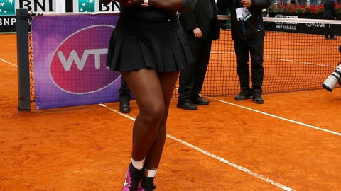 """<p>               FILE - In this Sunday, May 15, 2016 file photo, Serena Williams poses with the trophy after beating Madison Keys 7-6, 6-3, in the final match of the Italian Open tennis tournament, in Rome. Serena Williams is set to return from injury at the upcoming Italian Open. Tournament director Sergio Palmieri tells The Associated Press that he spoke with Williams' representative """"four-five days ago"""" and that """"she has already reserved her rooms and should be here a few days early"""" for the May 13-19 event. (AP Photo/Alessandra Tarantino, File)             </p>"""