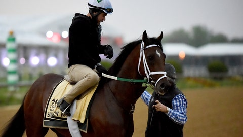 <p>               Preakness Stakes entrant Bourbon War is led off the track after exercising, Thursday, May 16, 2019, at Pimlico Race Course in Baltimore. The Preakness Stakes horse race is scheduled to take place Saturday, May 18. (AP Photo/Will Newton)             </p>