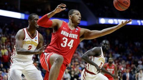 <p>               FILE - In this March 22, 2019, file photo, Ohio State's Kaleb Wesson (34) reaches for a rebound between Iowa State's Cameron Lard (2) and Marial Shayok (3) during the second half of a first round game in the NCAA college basketball tournament in Tulsa, Okla.  Wesson's decision to return could make Ohio State a top-10 team next season.  (AP Photo/Jeff Roberson, File)             </p>