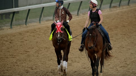 <p>               Kentucky Derby entrant Master Fencer, left,  is led on the track during a workout at Churchill Downs Wednesday, May 1, 2019, in Louisville, Ky. The 145th running of the Kentucky Derby is scheduled for Saturday, May 4. (AP Photo/Charlie Riedel)             </p>