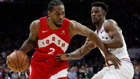 <p>               Toronto Raptors' Kawhi Leonard, left, drives against Philadelphia 76ers' Jimmy Butler, right, during the second half of Game 4 of a second-round NBA basketball playoff series, Sunday, May 5, 2019, in Philadelphia. The Raptors won 101-96. (AP Photo/Chris Szagola)             </p>