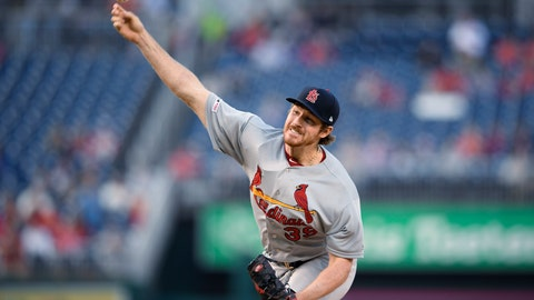 <p>               St. Louis Cardinals starting pitcher Miles Mikolas throws during the first inning of the team's baseball game against the Washington Nationals, Wednesday, May 1, 2019, in Washington. (AP Photo/Nick Wass)             </p>