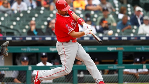 <p>               Los Angeles Angels' Albert Pujols hits a solo home run in the third inning of a baseball game against the Detroit Tigers in Detroit, Thursday, May 9, 2019. The home run was his 2,000th career RBI. (AP Photo/Paul Sancya)             </p>