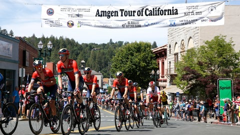 <p>               The peloton sprints down Main Street during the second stage of the Amgen Tour of California cycling race Monday, May 13, 2019, in Placerville, Calif. (AP Photo/Rich Pedroncelli)             </p>