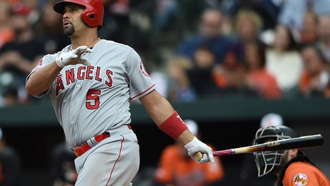 <p>               Los Angeles Angels' Albert Pujols follows through on a solo home run against the Baltimore Orioles in the fourth inning of a baseball game Saturday, May 11, 2019, in Baltimore. (AP Photo/Gail Burton)             </p>