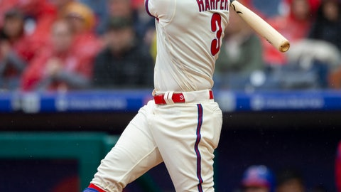 <p>               Philadelphia Phillies right fielder Bryce Harper (3) follows though on an RBI single during the sixth inning of a baseball game against the Washington Nationals, Sunday, May 5, 2019, in Philadelphia. Zach Eflin scored. The Phillies won 7-1. (AP Photo/Laurence Kesterson)             </p>