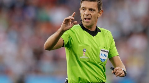 <p>               FILE - In this Sunday, June 24, 2018 file photo, referee Gianluca Rocchi from Italy directs the game during the group H match between Japan and Senegal at the 2018 soccer World Cup at the Yekaterinburg Arena in Yekaterinburg , Russia. UEFA says on Monday, May 13, 2019 it picked Italian referee Gianluca Rocchi for the all-English Europa League final between Arsenal and Chelsea. The 45-year-old Rocchi has handled three games involving English teams this season in the Champions League and all failed to win. (AP Photo/Natacha Pisarenko, file)             </p>