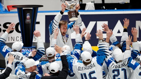 <p>               Finland's Marko Anttila holds the trophy after Finland beat Canada 3-1 in the Ice Hockey World Championships gold medal match at the Ondrej Nepela Arena in Bratislava, Slovakia, Sunday, May 26, 2019. Anttila scored two goals in the game. (AP Photo/Petr David Josek)             </p>