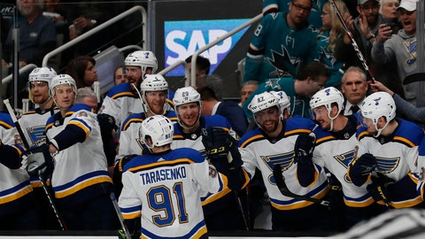 <p>               St. Louis Blues' Vladimir Tarasenko (91) celebrates a goal with the bench in the second period in Game 5 of the NHL hockey Stanley Cup Western Conference finals against the San Jose Sharks in San Jose, Calif., on Sunday, May 19, 2019. (AP Photo/Josie Lepe)             </p>