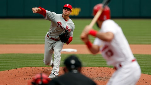 <p>               Philadelphia Phillies starting pitcher Jerad Eickhoff throws during the fourth inning of a baseball game against the St. Louis Cardinals Wednesday, May 8, 2019, in St. Louis. (AP Photo/Jeff Roberson)             </p>
