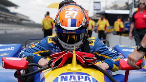 <p>               Alexander Rossi lowers himself into his car during practice for the Indianapolis 500 IndyCar auto race at Indianapolis Motor Speedway, Wednesday, May 15, 2019 in Indianapolis. (AP Photo/Michael Conroy)             </p>