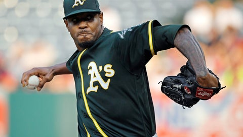 <p>               FILE - In this Aug. 11, 2018, file photo, Oakland Athletics starting pitcher Edwin Jackson throws during the first inning of a baseball game against the Los Angeles Angels in Anaheim, Calif. Jackson was acquired by Toronto from Oakland for cash on Saturday, May 11, 2019, and would set a record by pitching for 14 major league teams when he makes his Blue Jays debut. (AP Photo/Mark J. Terrill, File)             </p>