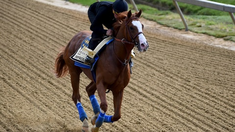 <p>               Improbable exercises in preparation for the Preakness Stakes horse race, Thursday, May 16, 2019, at Pimlico Race Course in Baltimore. The race is scheduled to take place Saturday, May 18. (AP Photo/Will Newton)             </p>