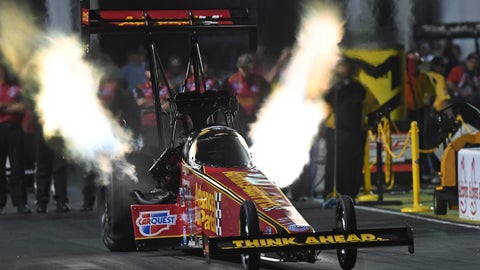 <p>               In this photo provided by the NHRA, Brittany Force pilots her Top Fuel dragster to the top of category Friday, May 3, 2019, at Atlanta Dragway at the Arby's NHRA Southern Nationals in Commerce, Ga. (Richard H Shute/Auto Imagery/NHRA via AP)             </p>