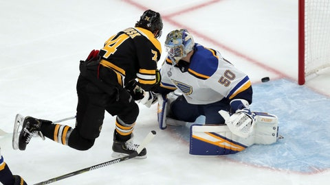 <p>               Boston Bruins' Jake DeBrusk, left, shoots wide past St. Louis Blues goaltender Jordan Binnington during the first period in Game 1 of the NHL hockey Stanley Cup Final, Monday, May 27, 2019, in Boston. (AP Photo/Charles Krupa)             </p>