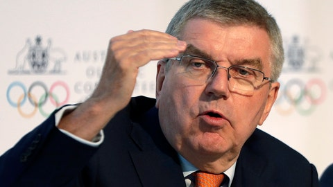 <p>               International Olympic Committee President Thomas Bach speaks at the Australian Olympic Committee annual general meeting in Sydney, Australia, Saturday, May 4, 2019. (AP Photo/Rick Rycroft)             </p>
