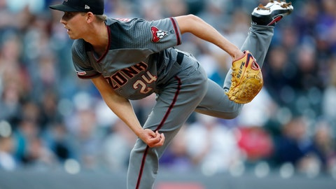 <p>               Arizona Diamondbacks starting pitcher Luke Weaver works against the Colorado Rockies in the first inning of a baseball game Saturday, May 4, 2019, in Denver. (AP Photo/David Zalubowski)             </p>