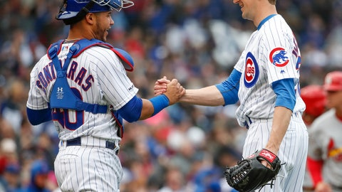 <p>               Chicago Cubs starting pitcher Kyle Hendricks, right, celebrates with catcher Willson Contreras, left, after the final out against the St. Louis Cardinals in the ninth inning of a baseball game, Friday, May 3, 2019, in Chicago. (AP Photo/Kamil Krzaczynski)             </p>