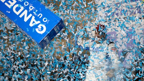 <p>               Ross Chastain celebrates in Victory Lane after winning the NASCAR Truck Series auto race at Kansas Speedway in Kansas City, Kan., Friday, May 10, 2019. (AP Photo/Orlin Wagner)             </p>