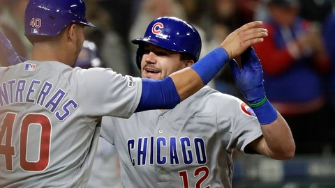 <p>               Chicago Cubs' Kyle Schwarber (12) is congratulated by Willson Contreras after Schwarber's two-run home run against the Seattle Mariners during the eighth inning of a baseball game Tuesday, April 30, 2019, in Seattle. (AP Photo/Elaine Thompson)             </p>