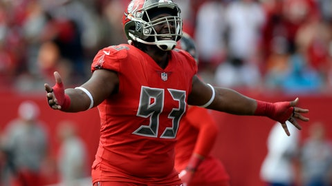 <p>               FILE - In this Dec. 2, 2018, file photo ,Tampa Bay Buccaneers defensive tackle Gerald McCoy (93) celebrates an interception by defensive back Andrew Adams during the first half of an NFL football game against the Carolina Panthers in Tampa, Fla. Free agent defensive tackle Gerald McCoy will visit the Cleveland Browns, who hope to sign the six-time Pro Bowler. General manager John Dorsey said Thursday, May 23, 2019, that McCoy, who was released earlier this week in a cost-cutting move, will be at the team's facility Friday. (AP Photo/Jason Behnken, File)             </p>
