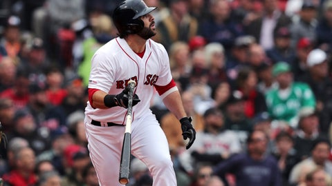 <p>               Boston Red Sox's Mitch Moreland watches the flight of his solo home run off Oakland Athletics pitcher Mike Fiers during the fourth inning of a baseball game at Fenway Park, Wednesday, May 1, 2019, in Boston. (AP Photo/Charles Krupa)             </p>