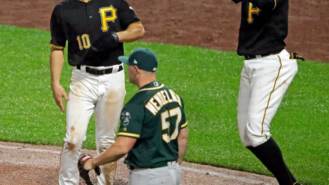 <p>               Pittsburgh Pirates' Gregory Polanco, right, and Bryan Reynolds (10) celebrate after scoring on a triple by Kevin Newman off Oakland Athletics relief pitcher J.B. Wendelken (57) during the seventh inning of a baseball game in Pittsburgh, Saturday, May 4, 2019. (AP Photo/Gene J. Puskar)             </p>