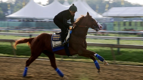 <p>               Improbable runs during training for Saturday's Preakness horse race at Pimlico race track in Baltimore, Friday, May 17, 2019. (AP Photo/Steve Helber)             </p>