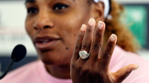 <p>               Serena Williams, of the United States, gestures as she meets the journalists after winning her match against Sweden's Rebecca Peterson at the Italian Open tennis tournament, in Rome, Monday, May, 13, 2019. (AP Photo/Gregorio Borgia)             </p>