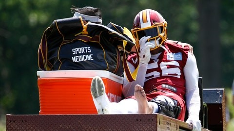 <p>               Washington Redskins linebacker Reuben Foster rides a cart off the field after suffering an injury during a practice at the team's NFL football practice facility, Monday, May 20, 2019, in Ashburn, Va. (AP Photo/Patrick Semansky)             </p>