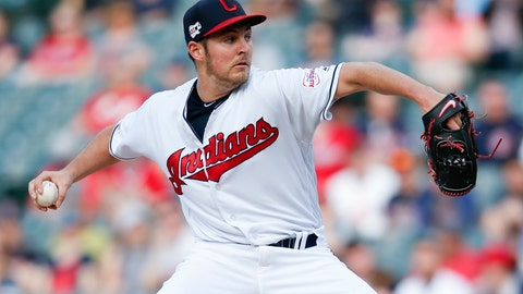 <p>               Cleveland Indians starting pitcher Trevor Bauer delivers against the Chicago White Sox during the first inning of a baseball game, Monday, May 6, 2019, in Cleveland. (AP Photo/Ron Schwane)             </p>