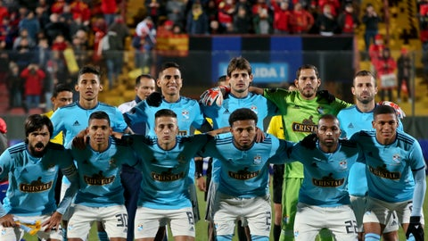 <p>               Peru's Sporting Cristal starting players pose for a team photo prior to their Copa Sudamericana soccer match gainst Chile's Union Española in Santiago, Chile, Tuesday, May 21, 2019. Sporting Cristal won 3 - 0. (AP Photo/Esteban Felix)             </p>