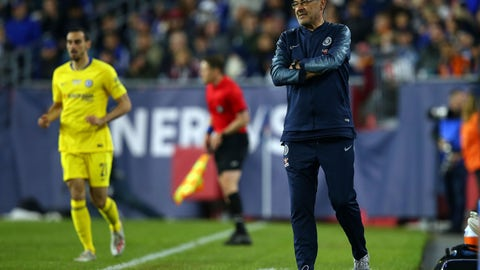 <p>               Chelsea head coach Maurizio Sarri on the sideline during the second half of a friendly soccer match against the New England Revolution, Wednesday, May 15, 2019, in Foxborough, Mass. (AP Photo/Stew Milne)             </p>