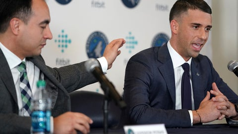 <p>               Minnesota Timberwolves NBA basketball team President of Basketball Operations Gersson Rosas, left, pats new head coach Ryan Saunders on the shoulder during a press conference in Minneapolis, Tuesday, May 21, 2019. (Anthony Souffle/Star Tribune via AP)             </p>