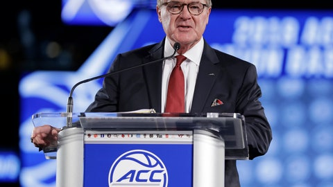 """<p>               FILE - In this Oct. 24, 2018, file photo, Commissioner John Swofford speaks to the media during a news conference at the Atlantic Coast Conference NCAA college basketball media day in Charlotte, N.C.  Speaking Monday, May 6, 2019, at a regional Associated Press Sports Editors meeting in Greensboro, N.C., Swofford said """"everything is on schedule"""" for the August launch of the league's TV channel. (AP Photo/Chuck Burton, File)             </p>"""