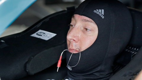 <p>               Kyle Busch waits in his car before practice for Saturday's NASCAR All-Star Cup series auto race at Charlotte Motor Speedway in Concord, N.C., Friday, May 17, 2019. (AP Photo/Chuck Burton)             </p>