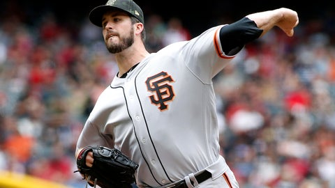 <p>               San Francisco Giants starting pitcher Drew Pomeranz throws against the Arizona Diamondbacks during the first inning of a baseball game, Sunday, May 19, 2019, in Phoenix. (AP Photo/Ralph Freso)             </p>