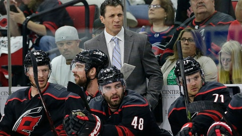 <p>               Carolina Hurricanes coach Rod Brind'Amour grimaces during the first period of Game 3 of an NHL hockey second-round playoff series against the New York Islanders in Raleigh, N.C., Wednesday, May 1, 2019. (AP Photo/Gerry Broome)             </p>
