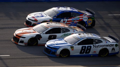 <p>               Chase Elliott (9) leads Alex Bowman (88) and Ryan Preece (47) to the finish line to win a NASCAR Cup Series auto race at Talladega Superspeedway, Sunday, April 28, 2019, in Talladega, Ala. (AP Photo/Butch Dill)             </p>