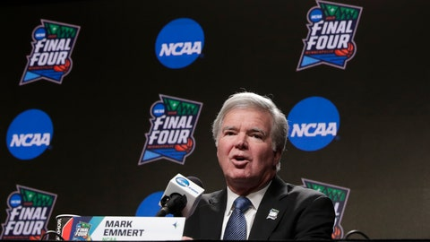 """<p>               FILE - In this April 4, 2019, file photo, NCAA President Mark Emmert answers questions at a news conference at the Final Four college basketball tournament in Minneapolis. College athletes are continuing to function at high levels in the classroom but their Academic Progress Rate scores appear to be hitting a peak. The most recent statistics, released Wednesday, May 8, 2019, show this year's overall four-year score matched last year's record-high of 983 and that the four-year scores in football, men's basketball and women's basketball also matched last year's marks. Baseball improved by one point to 976 while single-year scores at Historically Black Colleges declined slightly. """"We are seeing some flattening of rates, which is not unusual given the large amount of data over a long period of time,"""" Emmert said in a statement. (AP Photo/Matt York, File)             </p>"""