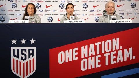 <p>               United States women's national soccer team members, from left, Carli Lloyd, Alex Morgan and Megan Rapinoe speak to reporters during a news conference in New York, Friday, May 24, 2019. (AP Photo/Seth Wenig)             </p>