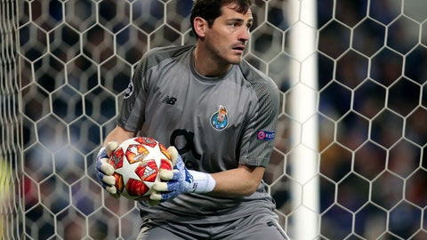 "<p>               FILE - In this Wednesday, April 17, 2019 file photo, Porto goalkeeper Iker Casillas holds the ball during their Champions League quarterfinals, 2nd leg, soccer match against Liverpool at the Dragao stadium in Porto, Portugal. Veteran goalkeeper Iker Casillas has had a heart attack but is out of danger, Porto said Wednesday, May 1. The Portuguese club said Casillas fell ill during a practice session and remains hospitalized, but the ""heart condition has been resolved.""  (AP Photo/Luis Vieira, file)             </p>"