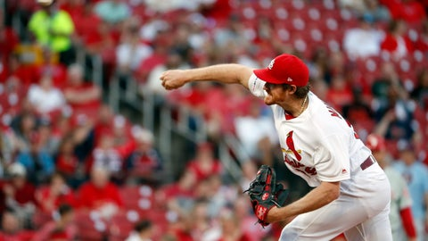 <p>               St. Louis Cardinals starting pitcher Miles Mikolas throws during the first inning of a baseball game against the Philadelphia Phillies, Monday, May 6, 2019, in St. Louis. (AP Photo/Jeff Roberson)             </p>