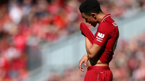 <p>               Liverpool's Trent Alexander-Arnold reacts during the English Premier League soccer match between Liverpool and Wolverhampton Wanderers at the Anfield stadium in Liverpool, England, Sunday, May 12, 2019. (AP Photo/Dave Thompson)             </p>