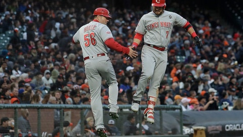 <p>               Cincinnati Reds' Eugenio Suarez, right, is congratulated by third base coach J.R. House (56) after hitting a solo home run against the San Francisco Giants during the fifth inning of a baseball game in San Francisco, Saturday, May 11, 2019. (AP Photo/Jeff Chiu)             </p>